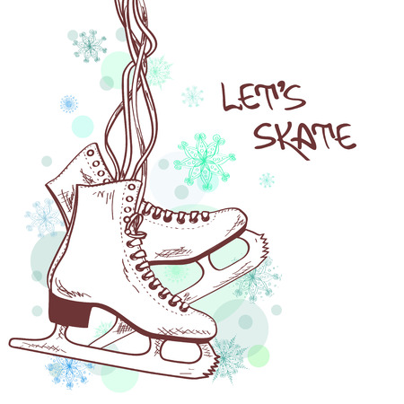 Illustration for Winter illustration or card with skates - Royalty Free Image