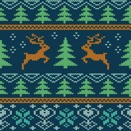 Scandinavian knitted seamless pattern with deers