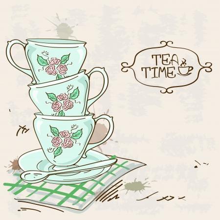 Illustration pour Illustration with stack of blue porcelain tea cups on a vintage background - image libre de droit