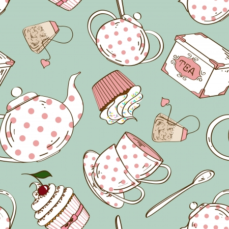 Illustration pour Fancy seamless pattern of white pink polka dots tea set and cupcakes - image libre de droit