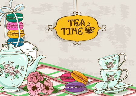 Illustration pour Vintage illustration with still life of tea set and French macaroons - image libre de droit