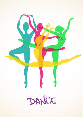 Illustration pour Illustration with colorful silhouettes of ballet dancers - image libre de droit