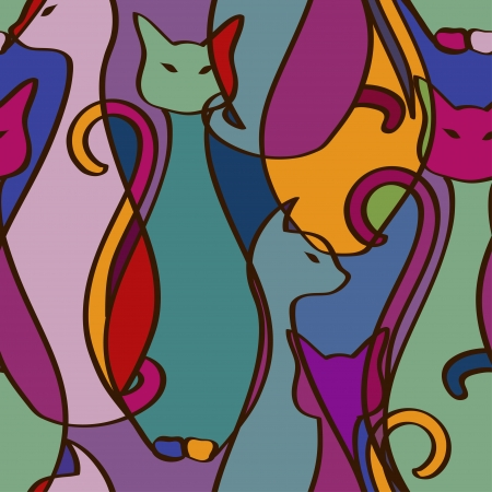 Ilustración de Seamless pattern of tribal geometric colorful African cats - Imagen libre de derechos