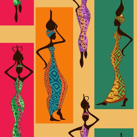 Ilustración de Seamless pattern of beautiful African women with vases - Imagen libre de derechos