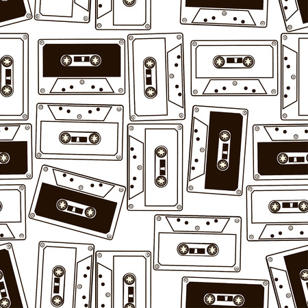 Ilustración de Abstract black and white seamless pattern of audio cassette tapes - Imagen libre de derechos