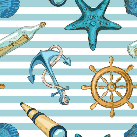 Illustration pour Nautical striped seamless pattern of anchor, wheel, starfish, seashell, spyglass and bottle with message - image libre de droit