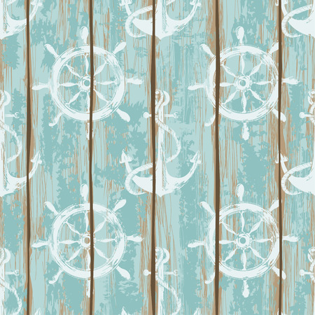 Illustration pour Old boards of ship deck seamless pattern painted by anchors and wheels print - image libre de droit