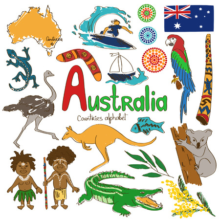 Illustration for Colorful sketch collection of Australia icons, countries alphabet - Royalty Free Image