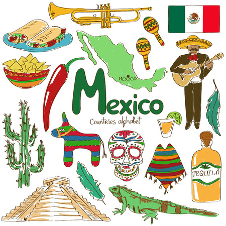 Illustration for Fun colorful sketch collection of Mexico icons, countries alphabet - Royalty Free Image