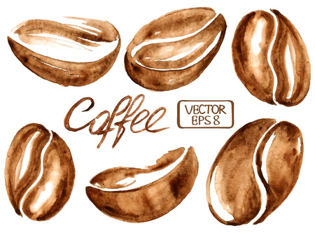 Ilustración de Isolated vector watercolor coffee beans icons - Imagen libre de derechos