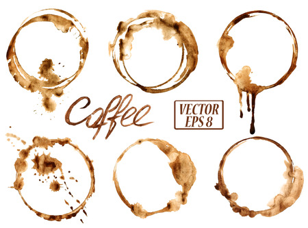 Ilustración de Isolated vector watercolor spilled coffee stains icons - Imagen libre de derechos