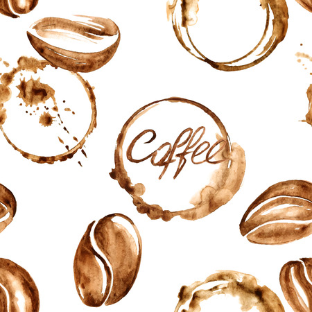 Illustration for Vector watercolor seamless pattern with coffee beans and spilled coffee stains - Royalty Free Image