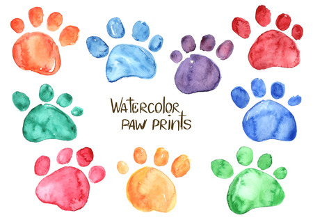 Ilustración de Set of isolated hand drawn watercolor animal footprints - Imagen libre de derechos