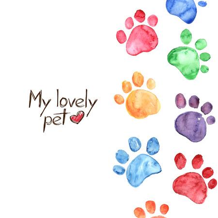 Ilustración de Hand drawn watercolor illustration with animal footprints - Imagen libre de derechos