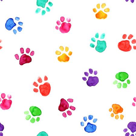 Ilustración de Colorful hand drawn watercolor illustration with animal footprints - Imagen libre de derechos