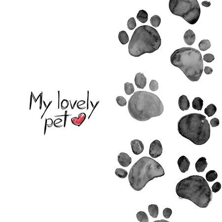 Illustration for Hand drawn watercolor illustration with animal footprints - Royalty Free Image