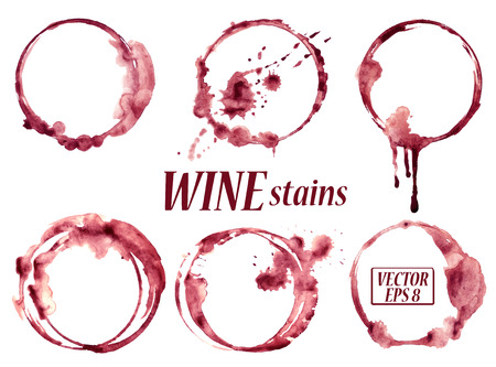 Ilustración de Isolated vector watercolor spilled wine glasses stains icons - Imagen libre de derechos