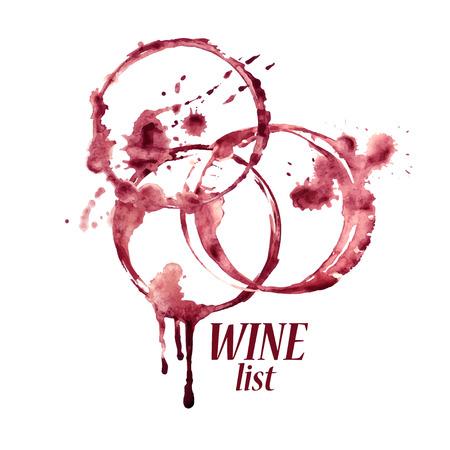 Ilustración de Vector watercolor emblem with spilled wine glasses stains - Imagen libre de derechos