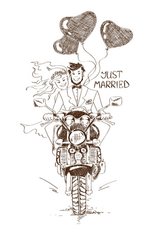 Illustration pour Funny sketch illustration with just married couple riding on a motorbike and heart shape air balloons. Hand drawn wedding card or invitation - image libre de droit