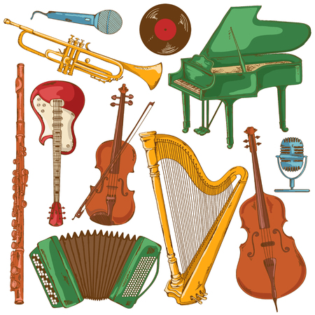 Illustration pour Hand drawn set of isolated colorful musical instruments - image libre de droit