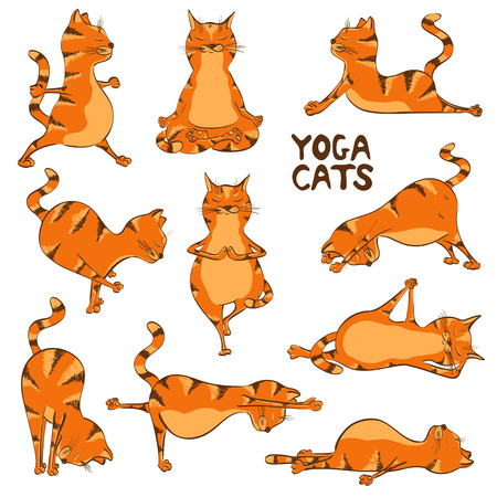 Illustration pour Set of isolated cartoon funny red cats icons doing yoga position - image libre de droit
