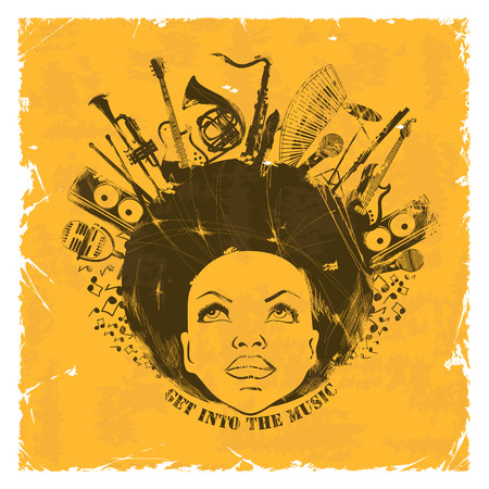 Illustration pour Illustration of African American young woman portrait with musical instruments on a retro background. Music creative concept - image libre de droit