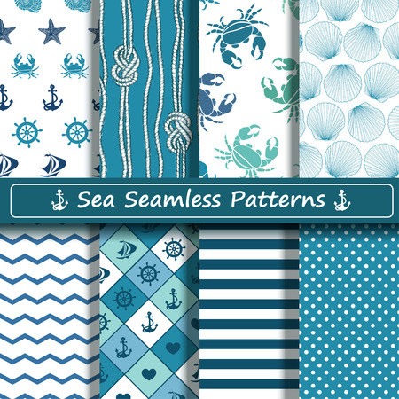 Illustration pour Set of blue and white sea seamless patterns. Scrapbook design elements. All patterns are included in swatch menu. - image libre de droit