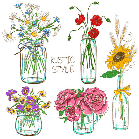 Illustration pour Colorful set of isolated mason jars and bottle with flowers. Wedding, birthday, shower party design decoration elements - image libre de droit