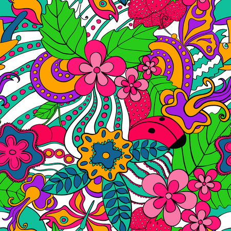 Illustration pour Abstract psychedelic seamless pattern. Colorful summer floral background. - image libre de droit