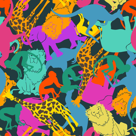 Illustration pour Funny colorful abstract animal silhouettes seamless pattern. - image libre de droit