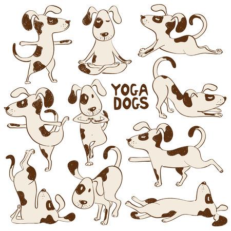 Ilustración de Set of isolated cartoon funny dogs icons doing yoga position. - Imagen libre de derechos