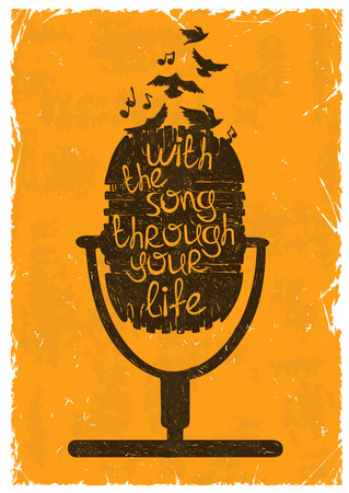 Illustration pour Hand drawn retro musical illustration with silhouette of microphone. Creative typography poster with phrase With the song through your life. - image libre de droit