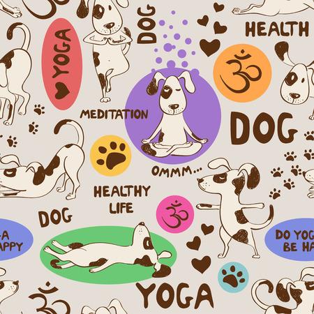 Ilustración de Funny seamless pattern with cartoon dog doing yoga position. Healthy lifestyle concept. - Imagen libre de derechos