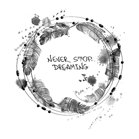 Photo pour Black and white hand drawn watercolor illustration with bird feathers and beads in a form of circle. - image libre de droit