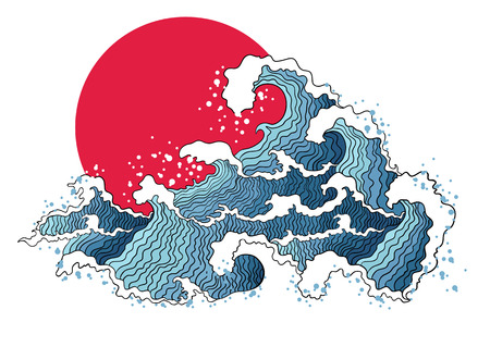 Illustration pour Asian illustration of ocean waves and sun. Isolated on a white background. - image libre de droit