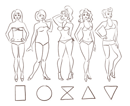 Illustration for Sketch cartoon set of isolated female body shape types. Round (apple), triangle (pear), hourglass, rectangle and inverted triangle body types. - Royalty Free Image