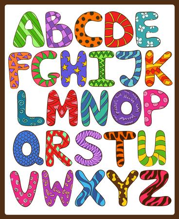 Ilustración de Colorful children alphabet with funny cartoon capital letters. Play and learn to read. - Imagen libre de derechos