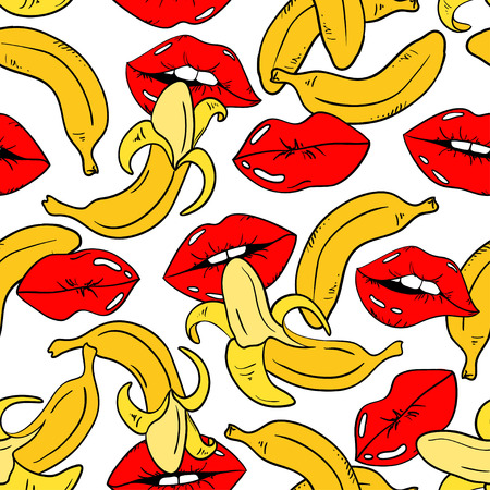 Illustration pour Seamless pattern with sexy red female lips and banana fruits on a white background. - image libre de droit