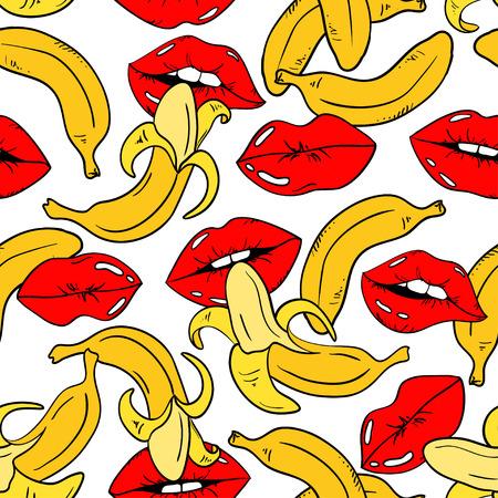 Ilustración de Seamless pattern with sexy red female lips and banana fruits on a white background. - Imagen libre de derechos