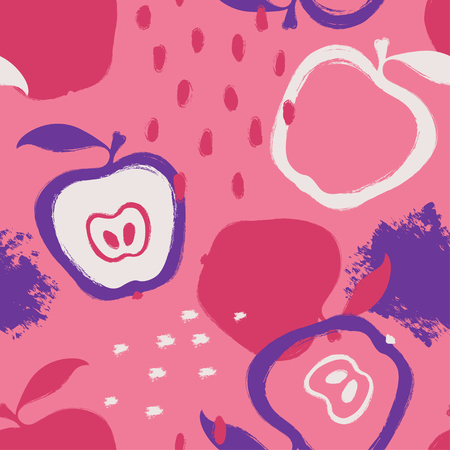 Ilustración de Abstract bright colorful apple seamless pattern. Hand drawn brush grunge fruit background. - Imagen libre de derechos