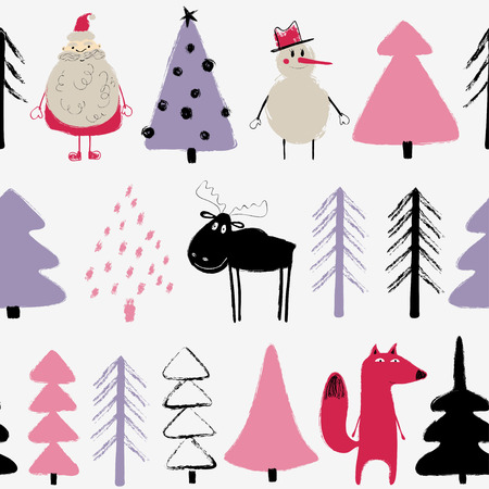 Ilustración de Funny Christmas seamless pattern with Santa Claus, snowman, deer, fox and trees. Hand drawn grunge brush winter holiday background. - Imagen libre de derechos
