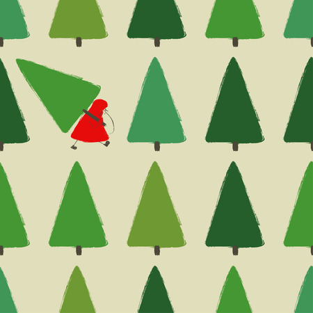 Illustration for Colorful funny forest seamless pattern with Santa Claus and trees. Santa is stealing a Christmas tree. - Royalty Free Image