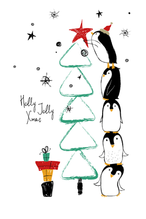 Illustration pour Hand drawn greeting card with funny penguins standing on top of one another and decorate the Christmas tree. - image libre de droit