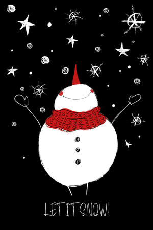 Ilustración de Hand drawn Christmas greeting card with funny smiling snowman enjoying the winter. - Imagen libre de derechos