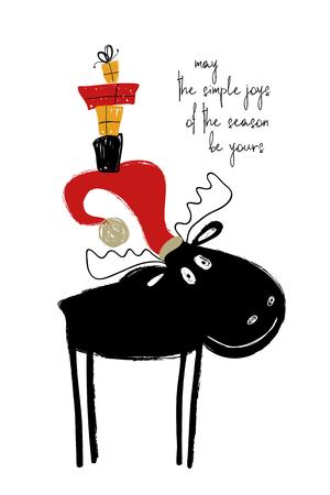 Ilustración de Hand drawn Christmas greeting card with funny smiling moose in Santa's hat. - Imagen libre de derechos