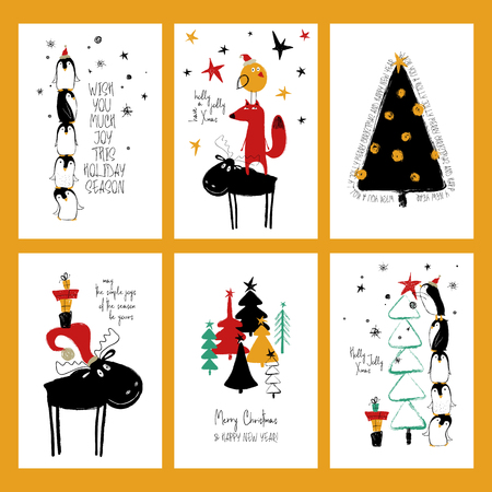 Illustration for Set of Christmas greeting cards. Funny hand drawn grunge cards with tree, deer, fox and cute penguins. - Royalty Free Image