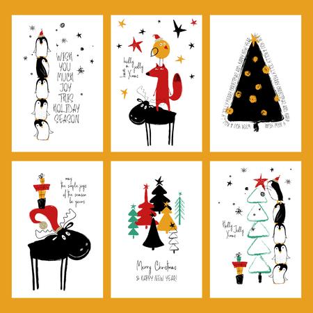 Ilustración de Set of Christmas greeting cards. Funny hand drawn grunge cards with tree, deer, fox and cute penguins. - Imagen libre de derechos