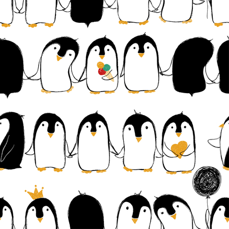 Illustration pour Hand drawn seamless pattern of cute penguins holding hands or wings. - image libre de droit