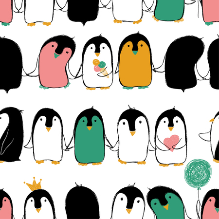 Ilustración de Hand drawn seamless pattern of cute penguins holding hands or wings. - Imagen libre de derechos