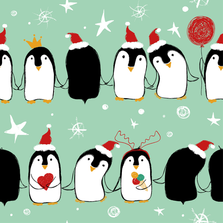 Illustration for Christmas seamless pattern of cute penguins in Santa's hat holding hands or wings. - Royalty Free Image